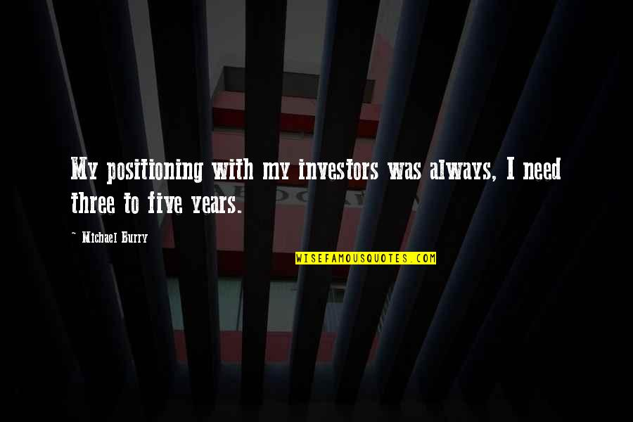 Burry's Quotes By Michael Burry: My positioning with my investors was always, I
