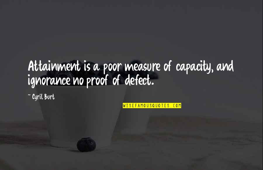 Burt Quotes By Cyril Burt: Attainment is a poor measure of capacity, and