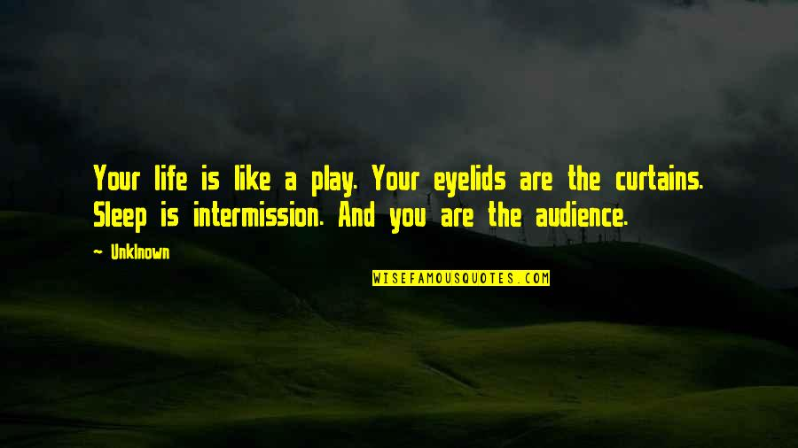 Bury The Pain Quotes By Unklnown: Your life is like a play. Your eyelids