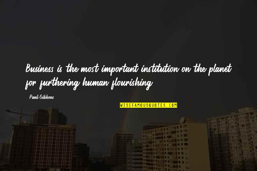 Business And Change Quotes By Paul Gibbons: Business is the most important institution on the
