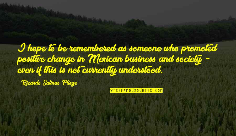 Business And Change Quotes By Ricardo Salinas Pliego: I hope to be remembered as someone who