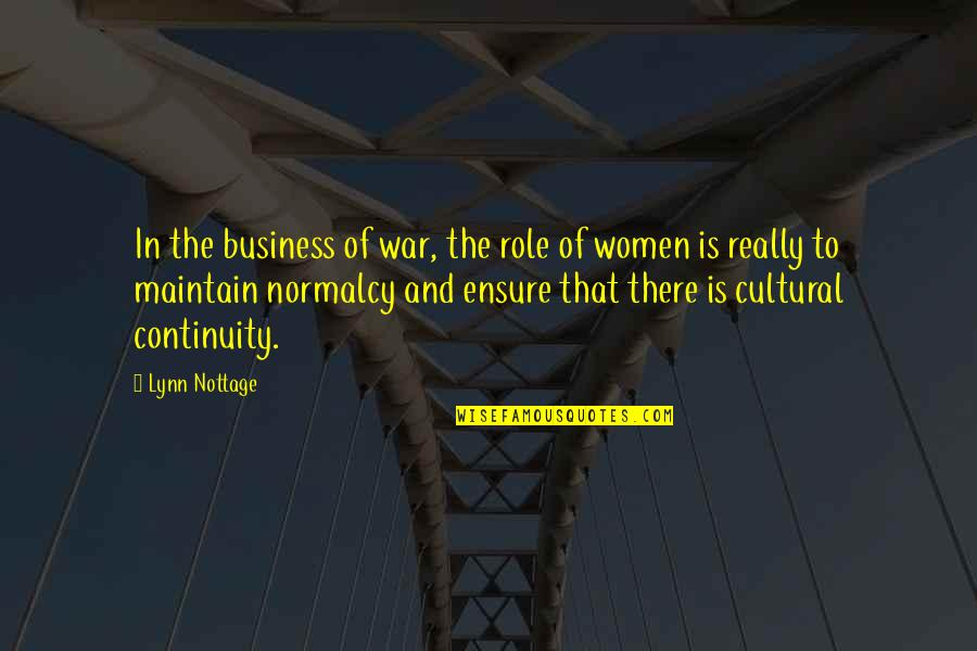 Business Continuity Quotes By Lynn Nottage: In the business of war, the role of