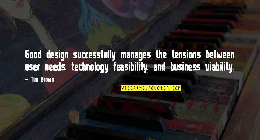 Business Viability Quotes By Tim Brown: Good design successfully manages the tensions between user