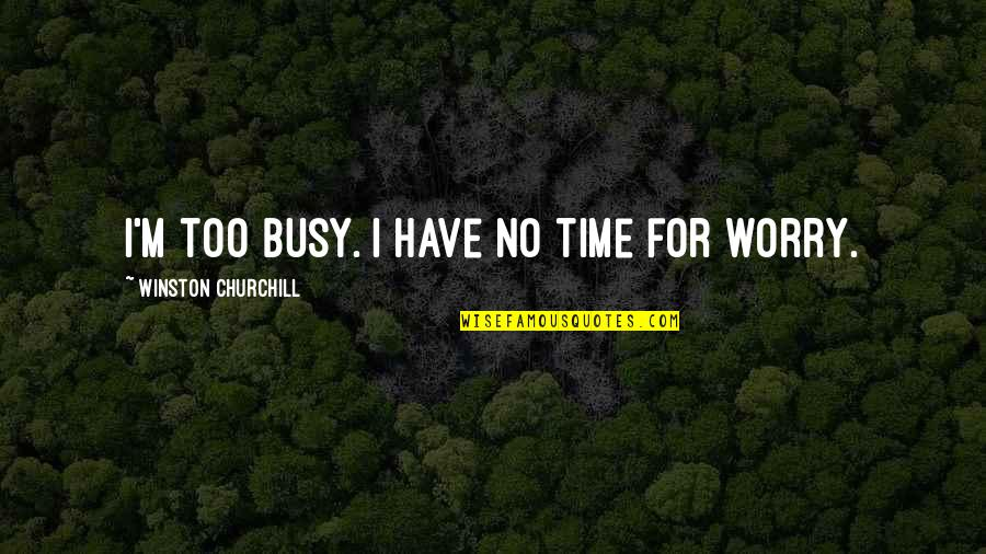 Busy No Time Quotes By Winston Churchill: I'm too busy. I have no time for
