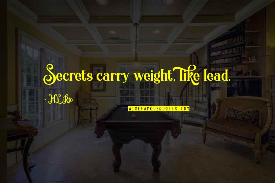 Buttoned Quotes By M.L. Rio: Secrets carry weight, like lead.
