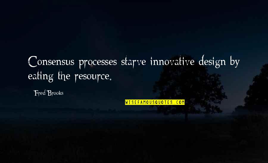 By Design Quotes By Fred Brooks: Consensus processes starve innovative design by eating the