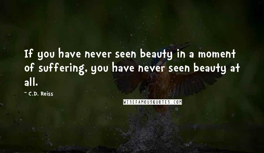 C.D. Reiss quotes: If you have never seen beauty in a moment of suffering, you have never seen beauty at all.
