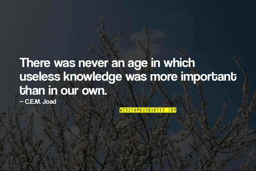 C.e.m. Joad Quotes By C.E.M. Joad: There was never an age in which useless