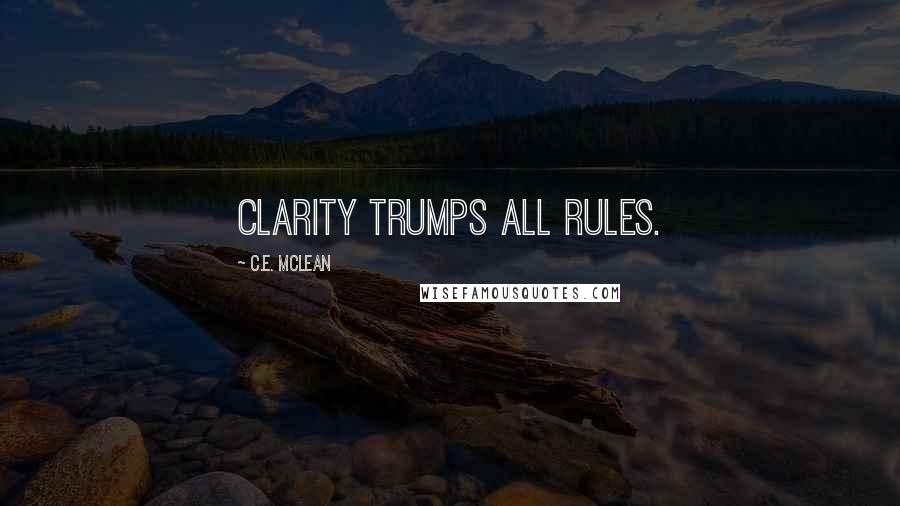 C.E. McLean quotes: Clarity trumps all rules.