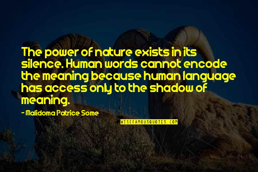 C# Encode Quotes By Malidoma Patrice Some: The power of nature exists in its silence.