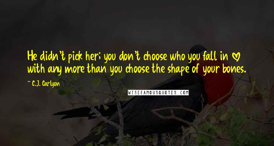 C.J. Carlyon quotes: He didn't pick her; you don't choose who you fall in love with any more than you choose the shape of your bones.