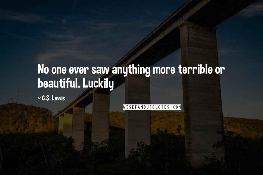 C.S. Lewis quotes: No one ever saw anything more terrible or beautiful. Luckily