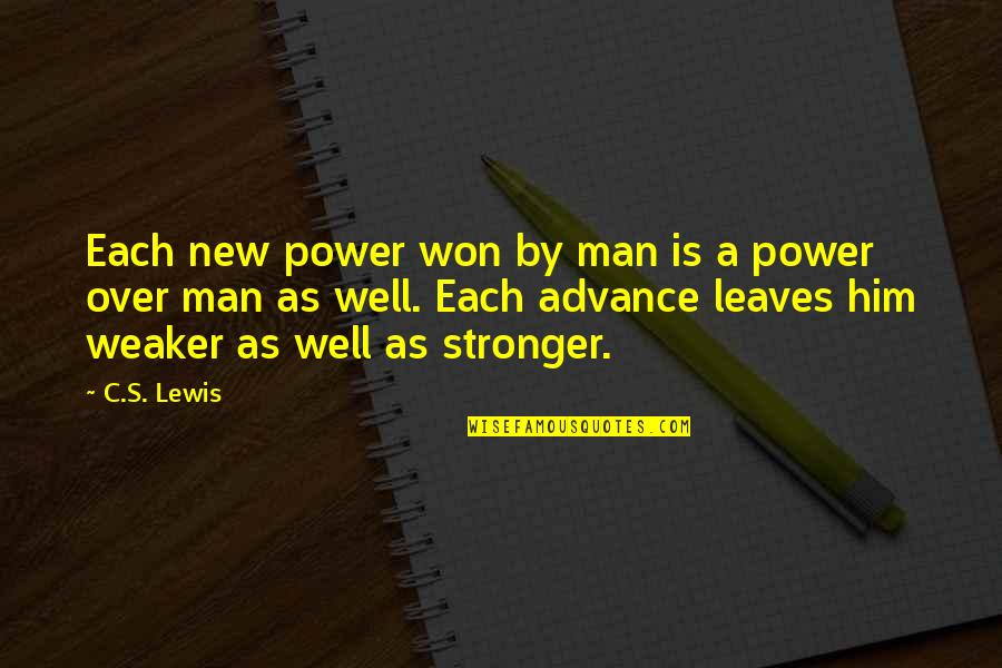 C S Lewis Quotes By C.S. Lewis: Each new power won by man is a