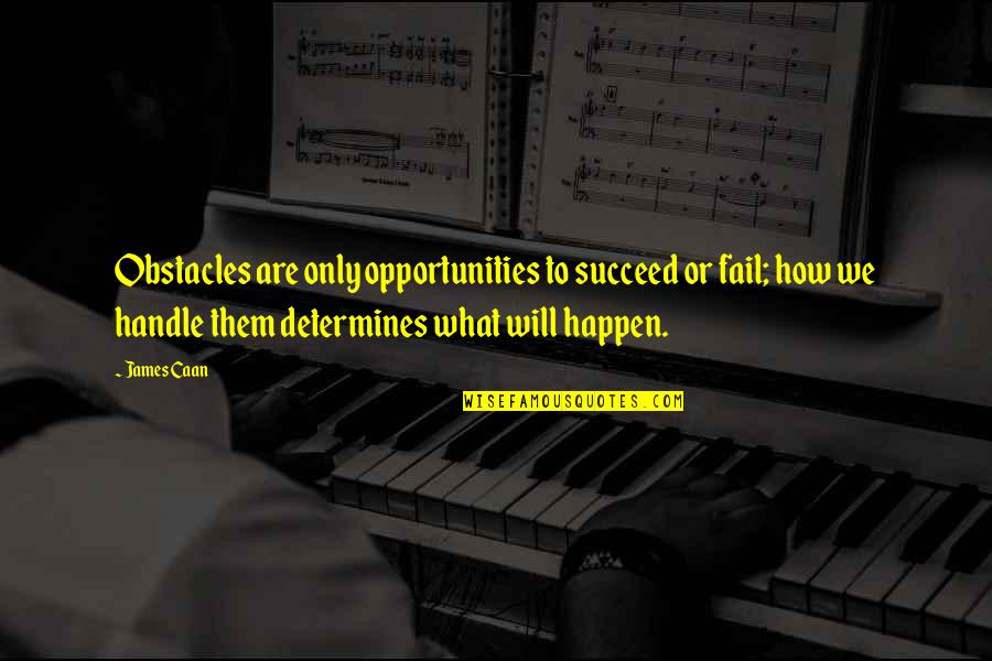 Caan Quotes By James Caan: Obstacles are only opportunities to succeed or fail;