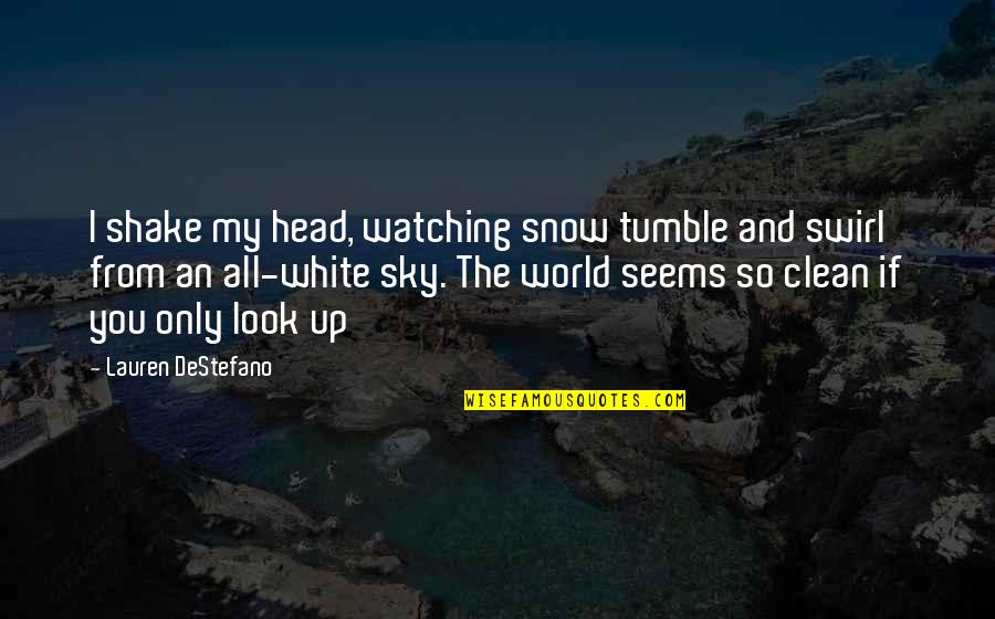 Cabel Quotes By Lauren DeStefano: I shake my head, watching snow tumble and