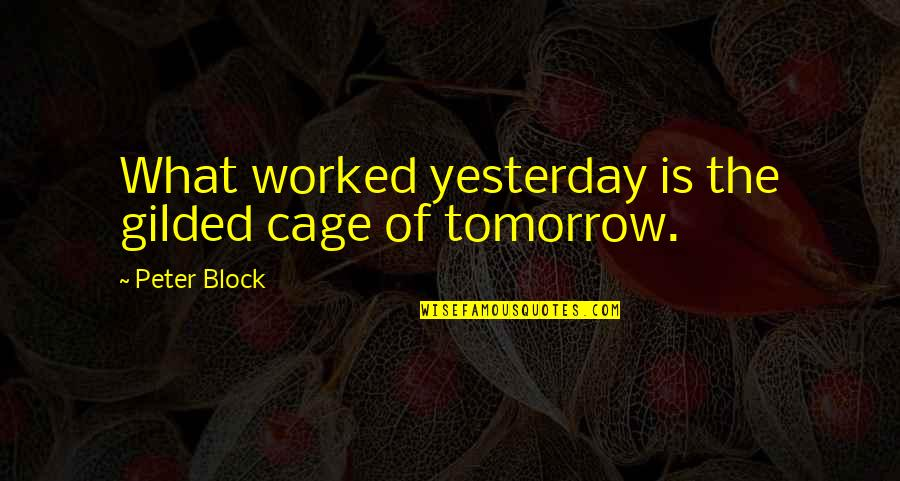 Cage Quotes By Peter Block: What worked yesterday is the gilded cage of