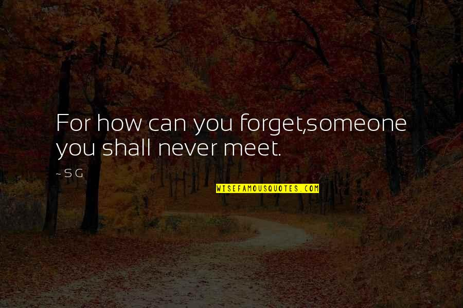 Cahooting Quotes By S G: For how can you forget,someone you shall never
