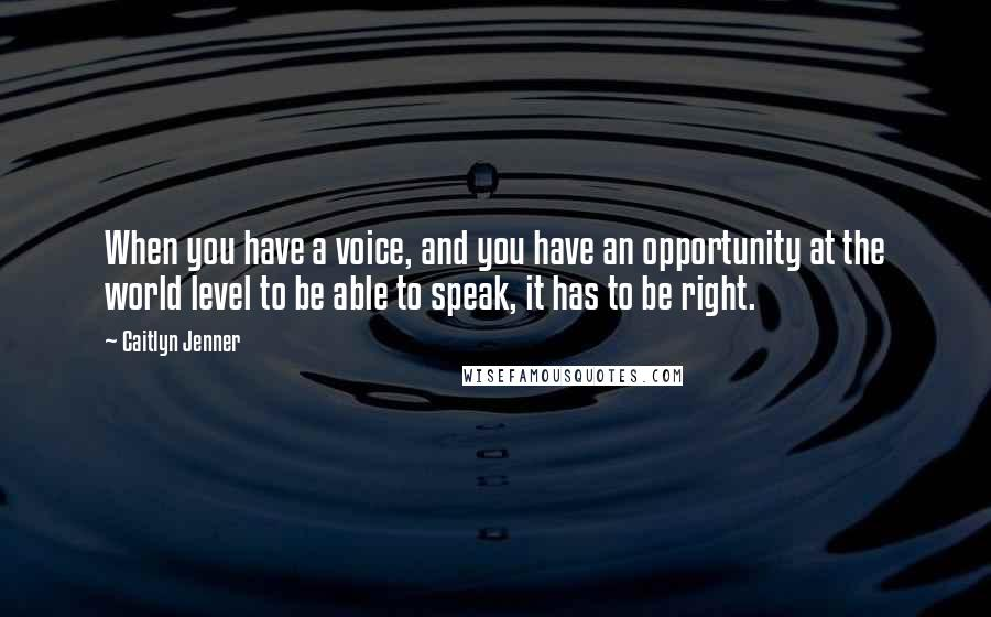 Caitlyn Jenner quotes: When you have a voice, and you have an opportunity at the world level to be able to speak, it has to be right.