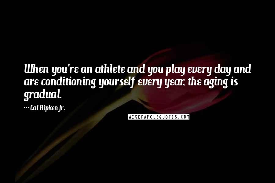 Cal Ripken Jr. quotes: When you're an athlete and you play every day and are conditioning yourself every year, the aging is gradual.