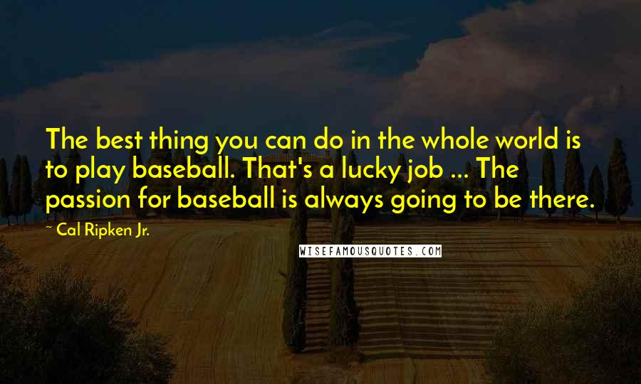 Cal Ripken Jr. quotes: The best thing you can do in the whole world is to play baseball. That's a lucky job ... The passion for baseball is always going to be there.