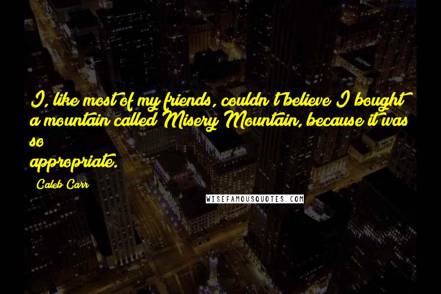 Caleb Carr quotes: I, like most of my friends, couldn't believe I bought a mountain called Misery Mountain, because it was so appropriate.