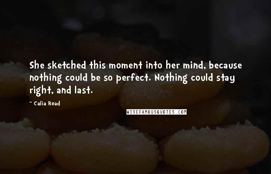 Calia Read quotes: She sketched this moment into her mind, because nothing could be so perfect. Nothing could stay right, and last.