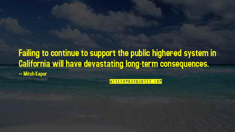California Quotes By Mitch Kapor: Failing to continue to support the public higher-ed