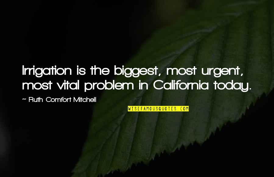 California Quotes By Ruth Comfort Mitchell: Irrigation is the biggest, most urgent, most vital
