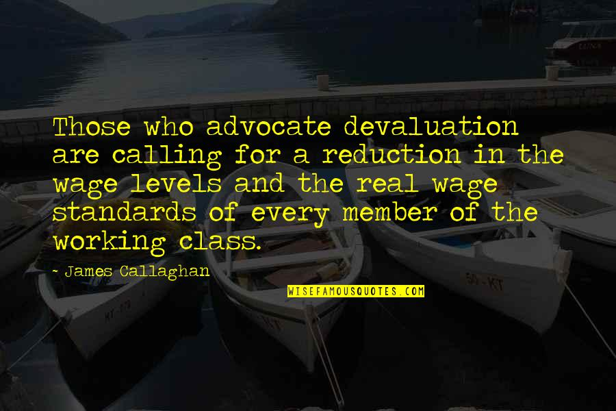 Callaghan Quotes By James Callaghan: Those who advocate devaluation are calling for a
