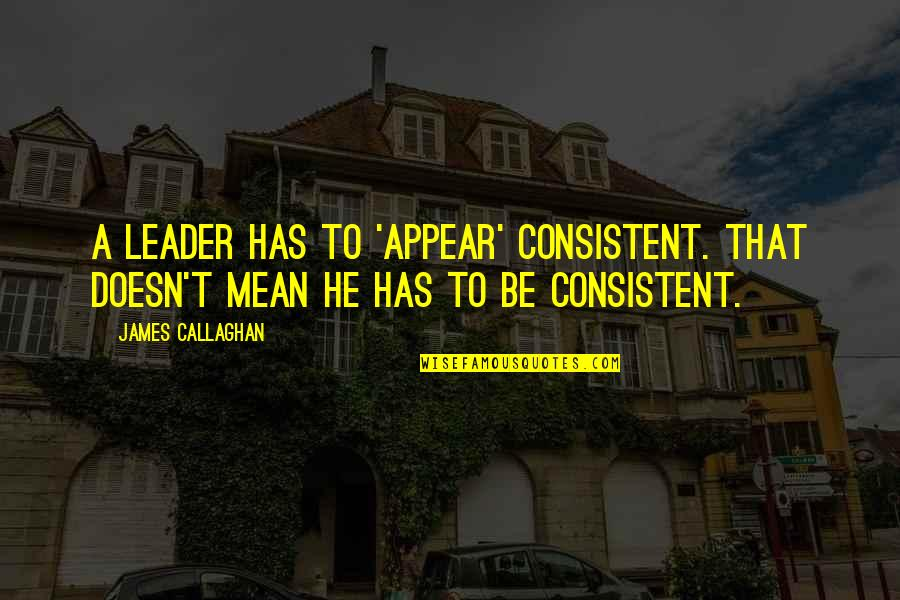 Callaghan Quotes By James Callaghan: A leader has to 'appear' consistent. That doesn't
