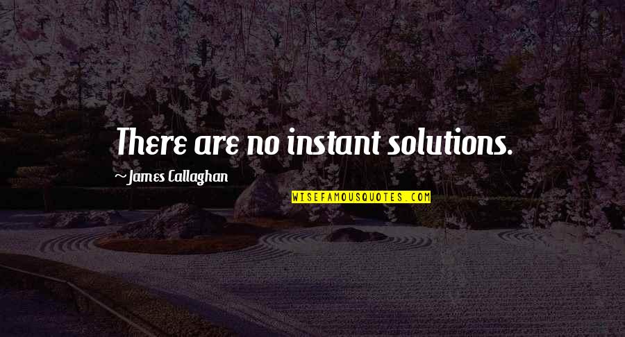 Callaghan Quotes By James Callaghan: There are no instant solutions.