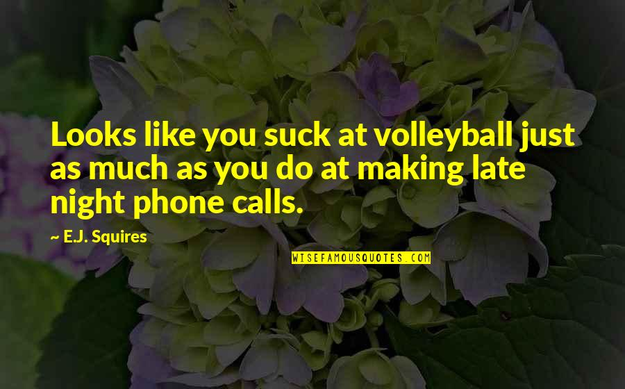 Calls Quotes By E.J. Squires: Looks like you suck at volleyball just as