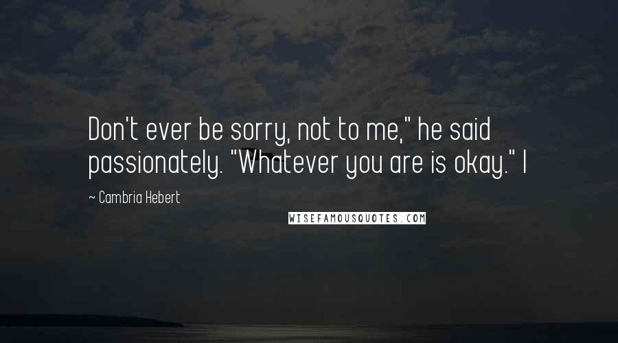 """Cambria Hebert quotes: Don't ever be sorry, not to me,"""" he said passionately. """"Whatever you are is okay."""" I"""