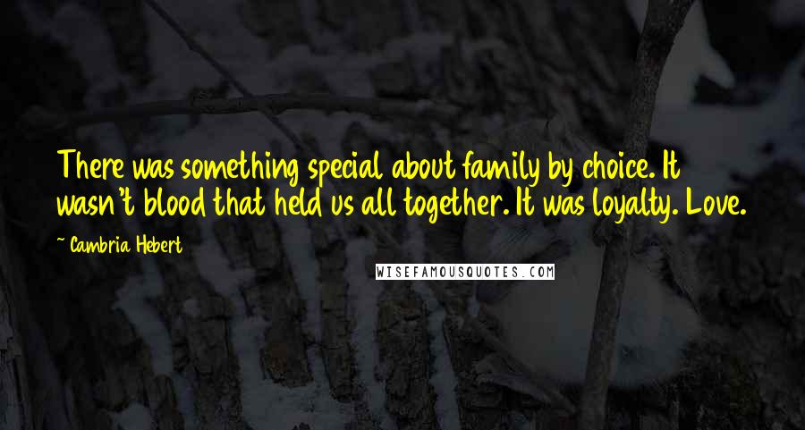 Cambria Hebert quotes: There was something special about family by choice. It wasn't blood that held us all together. It was loyalty. Love.