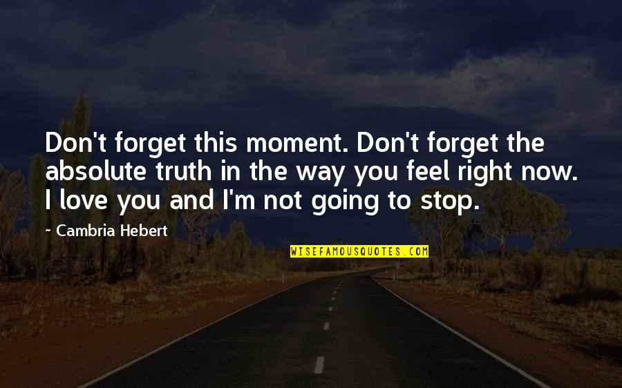 Cambria Quotes By Cambria Hebert: Don't forget this moment. Don't forget the absolute