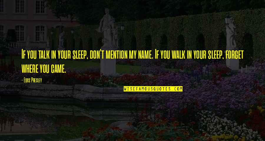 Came Quotes By Elvis Presley: If you talk in your sleep, don't mention