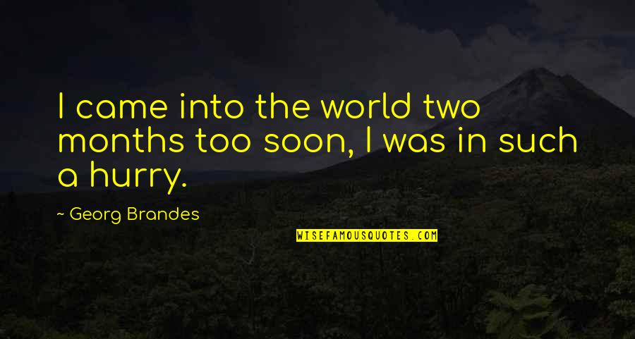 Came Quotes By Georg Brandes: I came into the world two months too