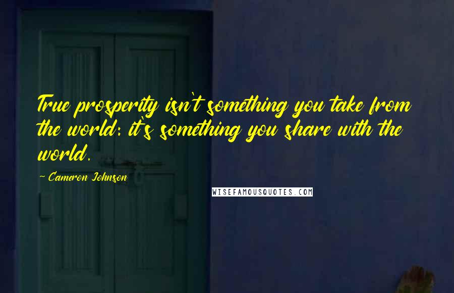 Cameron Johnson quotes: True prosperity isn't something you take from the world: it's something you share with the world.