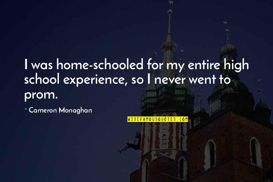 Cameron Monaghan Quotes By Cameron Monaghan: I was home-schooled for my entire high school