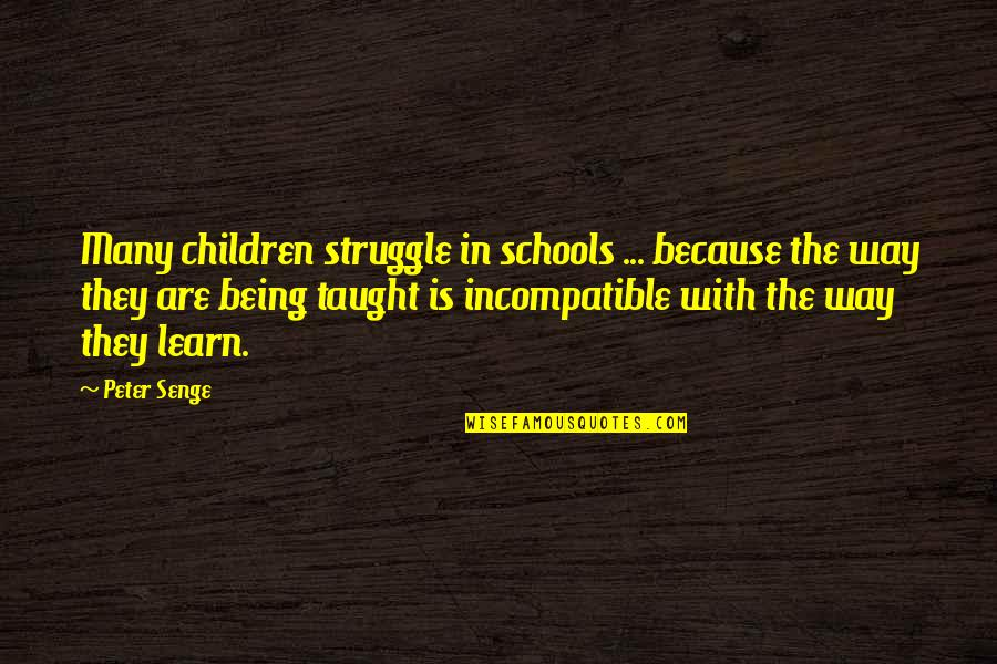 Camille Flammarion Quotes By Peter Senge: Many children struggle in schools ... because the