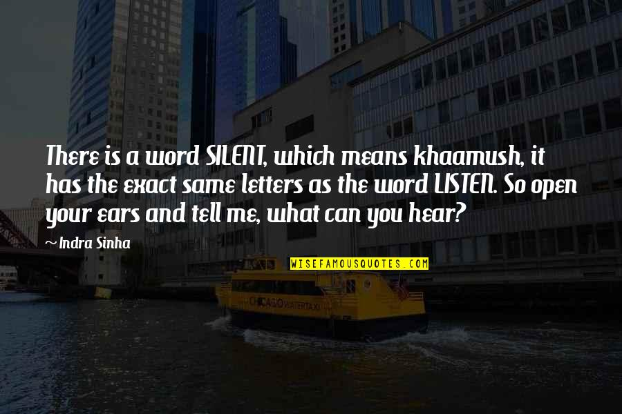 Can U Hear Me Quotes By Indra Sinha: There is a word SILENT, which means khaamush,