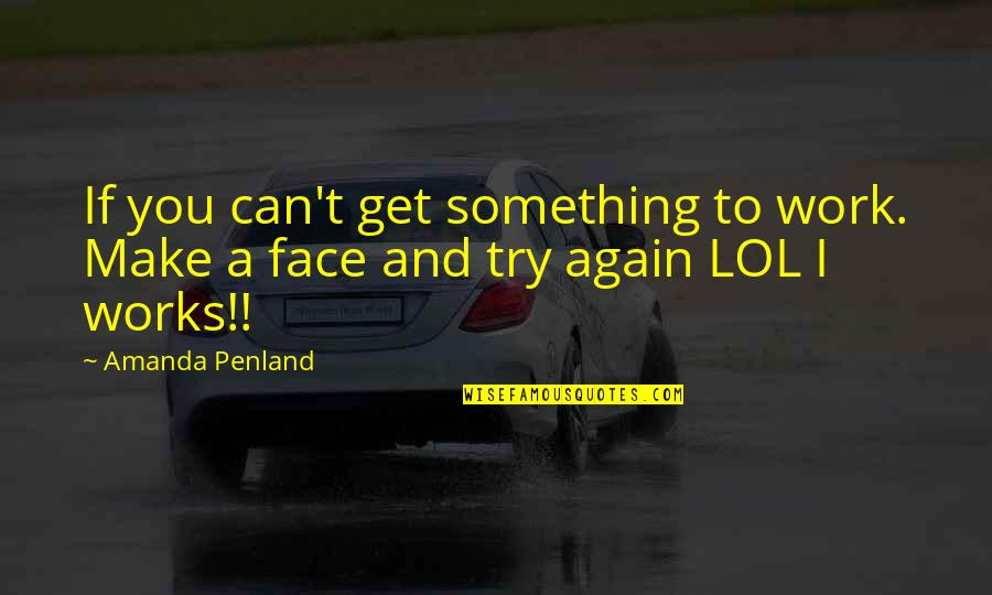 Can We Make It Work Quotes By Amanda Penland: If you can't get something to work. Make