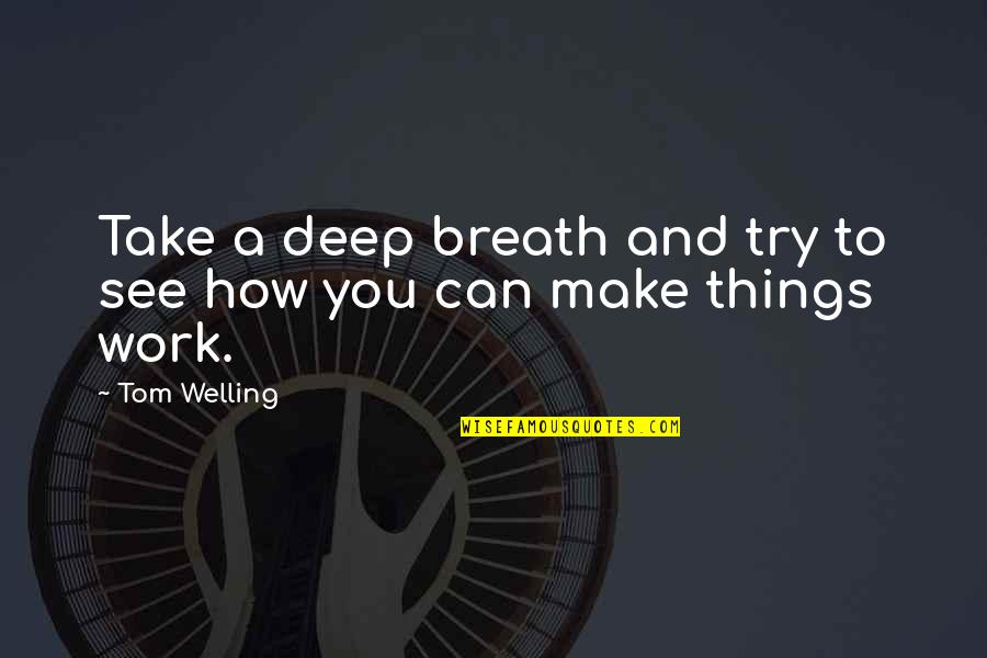 Can We Make It Work Quotes By Tom Welling: Take a deep breath and try to see