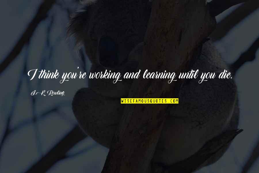 Cana's Quotes By J.K. Rowling: I think you're working and learning until you