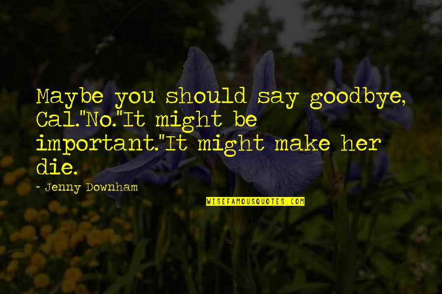 Cancer Death Quotes By Jenny Downham: Maybe you should say goodbye, Cal.''No.''It might be