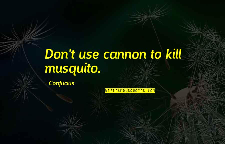 Cannon Quotes By Confucius: Don't use cannon to kill musquito.