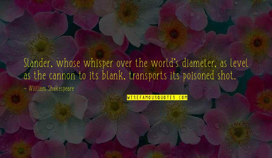 Cannon Quotes By William Shakespeare: Slander, whose whisper over the world's diameter, as