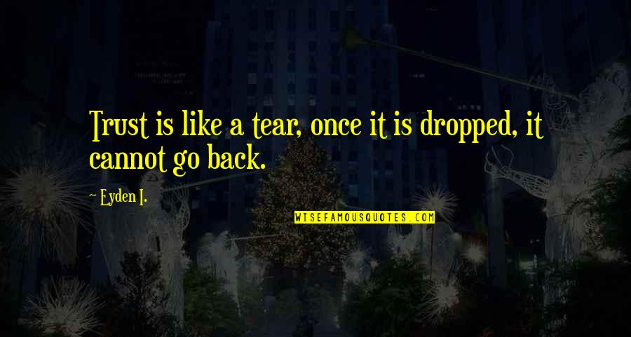 Cannot Go Back Quotes By Eyden I.: Trust is like a tear, once it is