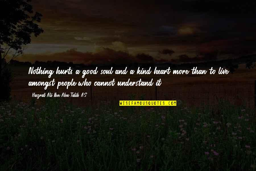 Cannot Understand Quotes By Hazrat Ali Ibn Abu-Talib A.S: Nothing hurts a good soul and a kind