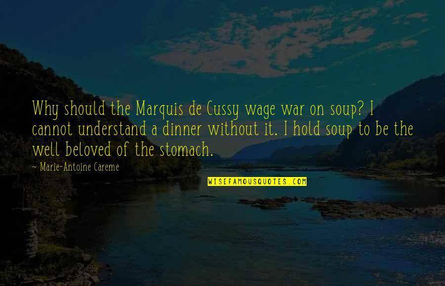 Cannot Understand Quotes By Marie-Antoine Careme: Why should the Marquis de Cussy wage war